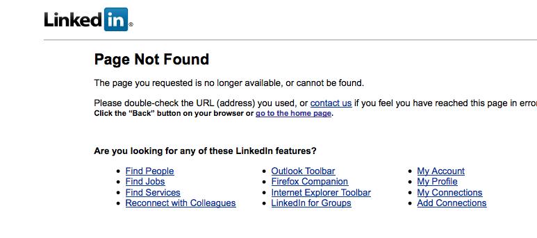 LinkedIn HomePage 404