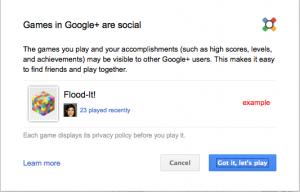 Google plus social games privacy warning