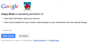 Google plus games permissions dialogue